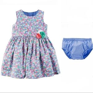 Floral Sateen Tulle Dress w Diaper Cover 6 months